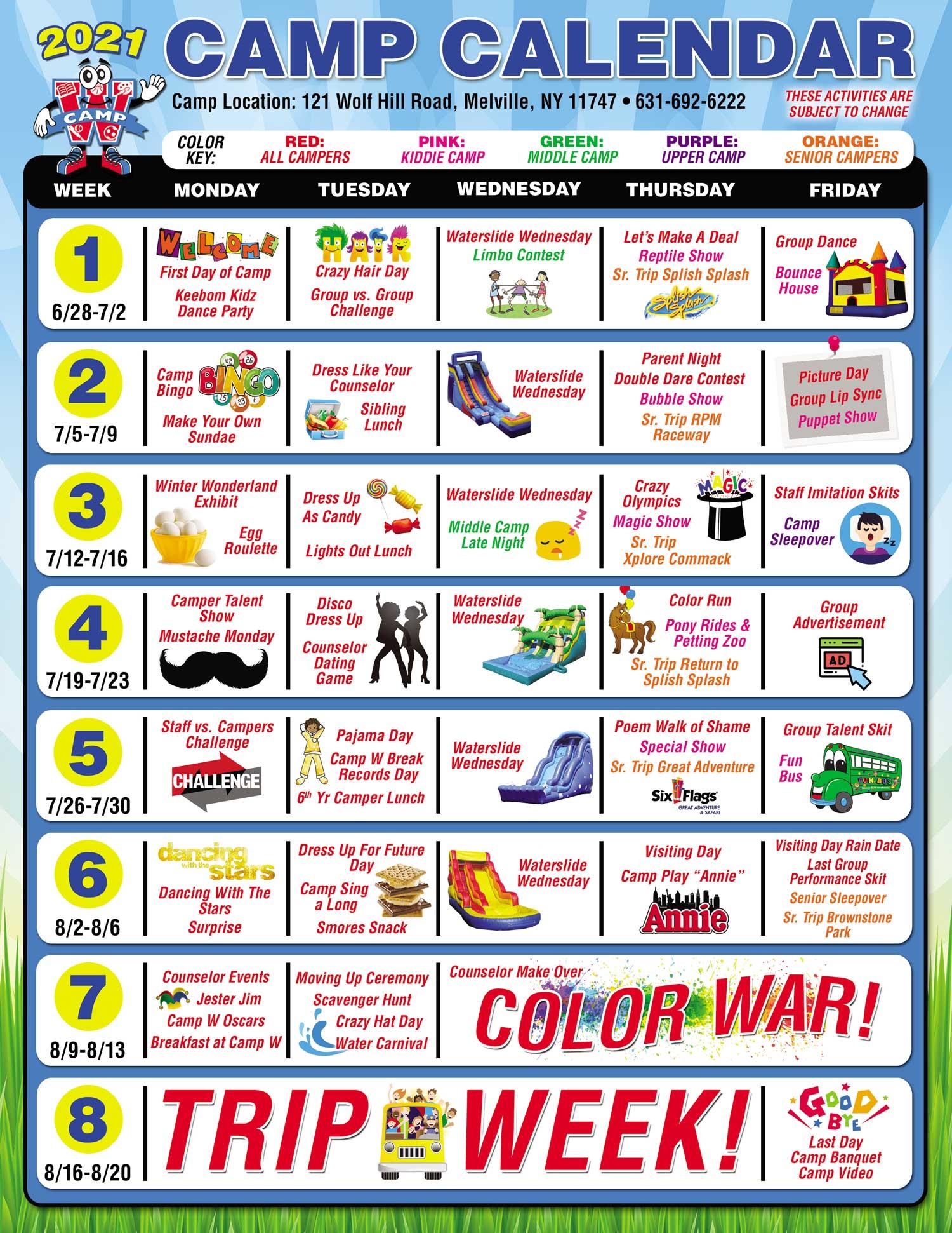 Camp W Summer Camp 2021 Calendar